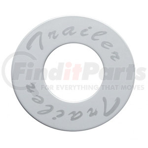 """23370-2 by UNITED PACIFIC - """"Trailer"""" Stainless Deluxe Air Valve Knob Plaque Only w/ Diamond Cutout"""