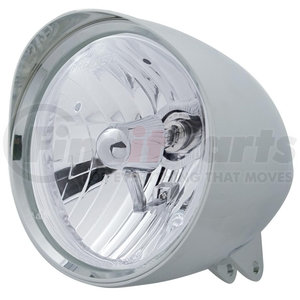 """32518 by UNITED PACIFIC - Motorcycle Chrome """"Chopper"""" Headlight w/ Smooth Visor Crystal H4 Bulb"""