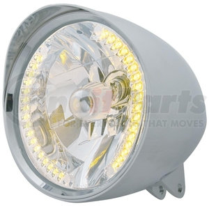 """32519 by UNITED PACIFIC - Motorcycle Chrome """"Chopper"""" Headlight w/ Smooth Visor H4 Bulb w/ 34 Amber LED"""