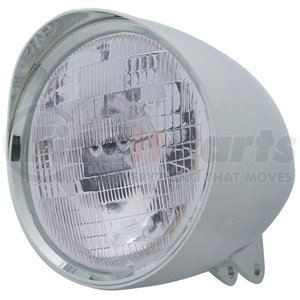 """32524 by UNITED PACIFIC - Motorcycle Chrome """"Chopper"""" Headlight w/ Smooth Visor H6024 Bulb"""