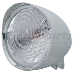 """32523 by UNITED PACIFIC - Motorcycle Chrome """"Chopper"""" Headlight w/ Smooth Visor 6014 Bulb"""