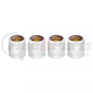 70062 by UNITED PACIFIC - Chrome Round Valve Caps w/ Smoke Diamond (4 Pack)