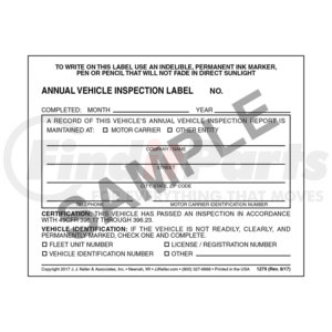 1279 by JJ KELLER - Annual Vehicle Inspection Label - Vinyl w/ Mylar Laminate - Vinyl label with mylar laminate