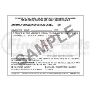 1279 by JJ KELLER - Annual Vehicle Inspection Label - Vinyl w/ Mylar Laminate - Vinyl label with mylar laminate