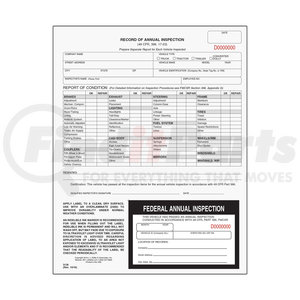 3136 by JJ KELLER - Record of Annual Inspection w/Inspection Decal - Stock - Form and Decal