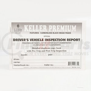 "8253 by JJ KELLER - Detailed Driver's Vehicle Inspection Report With Pre-/Post-Trip, 2-Ply, Carbonless - Stock - 2-ply, carbonless, book format, 5-1/2"" x 8-1/2"""