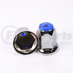 CN33FB-10 by POWER PRODUCTS - Lug Nut Cover - Chrome 10-Pack 33 mm w/ Flange - Blue Reflector