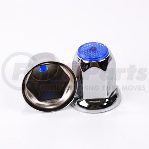 CN33FB by POWER PRODUCTS - Lug Nut Cover - Chrome 33 mm w/ Flange - Blue Reflector