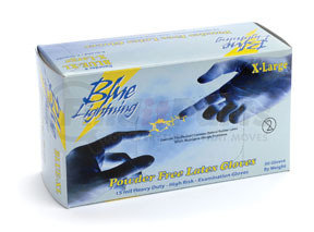 "BLUE-L by ATLANTIC SAFETY PRODUCTS - Blue Lightning 12"" Powder Free Latex Gloves, Large"
