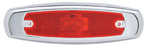 38295 by UNITED PACIFIC - 2 LED Rectangular Clearance/Marker Light - Red LED/Red Lens