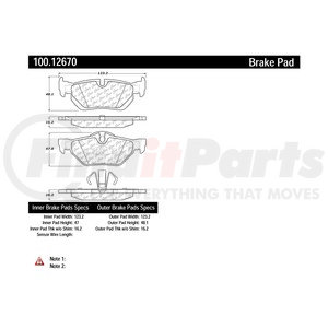 100.12670 by CENTRIC - Disc Brake Pad