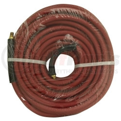"""21777 by APACHE - 3/8"""" x 50' Red Rubber Hose Coupled Brass 1/4"""" Male x Male"""