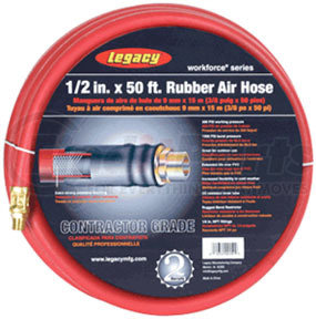 """HRE1250RD3 by LEGACY MFG. CO. - Workforce Series 1/2"""" ID x 50ft rubber air hose w/ 3/8"""" MNPT ends and bend restrictors"""