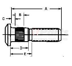 W1091R by GUNITE - .750-16 x 2.50 - Wheel Bolt (Gunite)