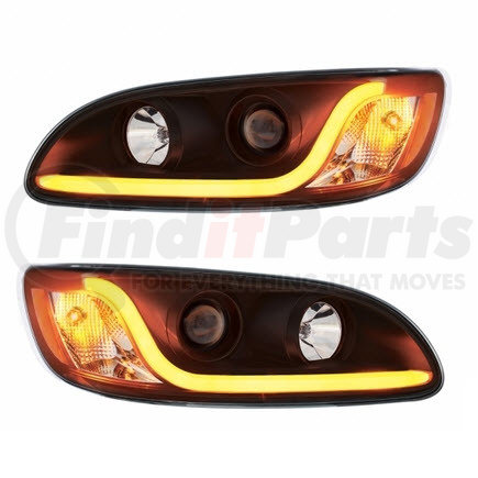 KIT1002 by UNITED PACIFIC - Pair of Blackout Peterbilt 386/387 Projection Headlights