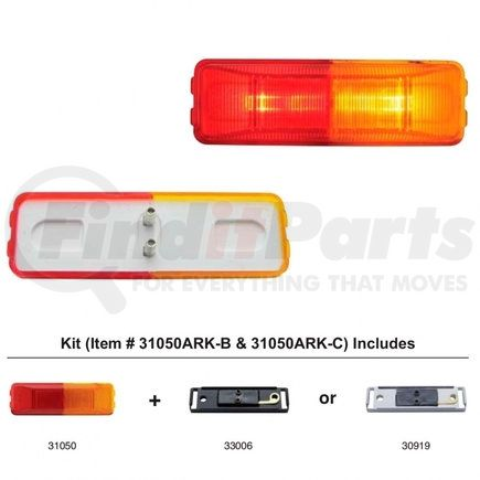 31050ARK-C by UNITED PACIFIC - Fender Mount Rectangular Clearance/Marker Light w/ Chrome Bracket - Amber & Red Lens