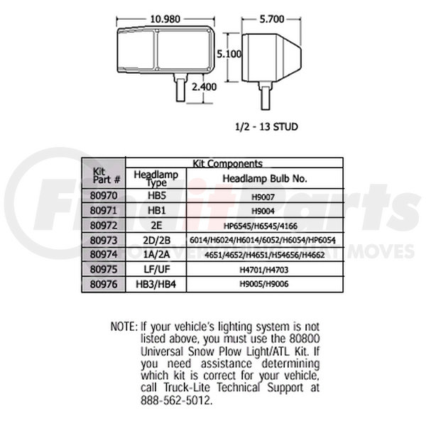 [DHAV_9290]  80976 by TRUCK-LITE - 5 Plug, LH Side, RH Side, 10 in. Snow Plow, ATL  Harness, 16 Gauge, Packard Connector 12015799, Packard Connector 12059181,  Packard Connector 12059183, Packard Connector 12083166, Packard Connector  12084167, Kit | Truck Lite Plow Lights Wiring Diagram |  | FinditParts